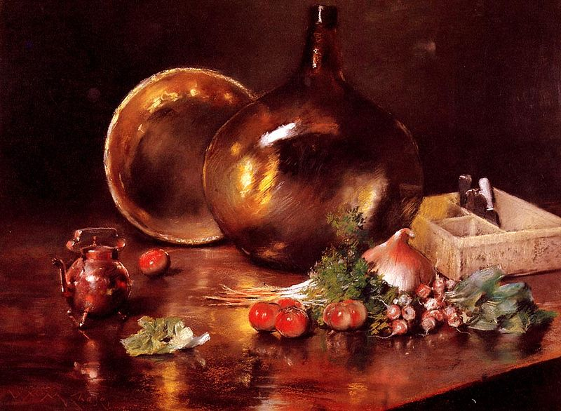Archivo:Chase William Merritt Still Life Brass and Glass 1888.jpg