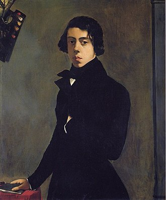 Théodore Chassériau - Portrait of the Artist in a Redingote, 1835, oil on canvas, 99 x 82 cm, Paris, Louvre. A self-portrait of Chassériau painted at the age of 16.