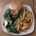 Cheeseburger, chips and salad at Sainsbury's, Chingford, London, England 1.jpg