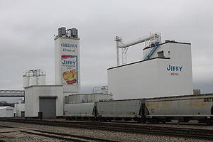 Baking mix - Grain elevators at the Chelsea Milling Company, manufacturer of Jiffy mix products, in Chelsea, Michigan