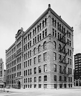 Courthouse Place - The south (front) and east side of the building.  Photo from the Historic American Buildings Survey.