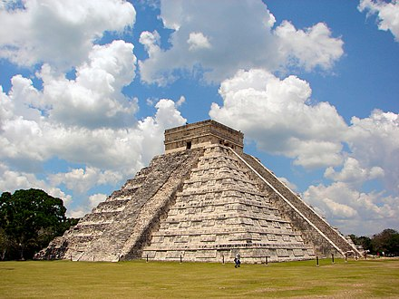 "Temple of Kukulcan in Chichen Itza, locally called ""El Castillo"". Chichen-Itza-Castillo-Seen-From-East.JPG"