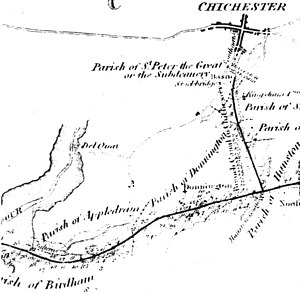 Chichester Canal - A map of the planned route of the canal from 1815
