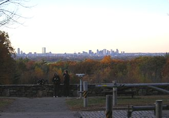 Blue Hills Reservation Parkways - View of Boston skyline from Chickatawbut Road, Quincy