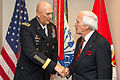 Chief of Staff of the U.S. Army Gen. Raymond T. Odierno, left, presents a coin to World War II veteran Don Carter during an office call in the Pentagon, Arlington, Va., July 9, 2014 140709-A-KH856-078.jpg