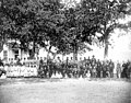 Children and employees in front of the Yakima Indian Agency school, Fort Simcoe, Washington, ca 1888 (WASTATE 614).jpeg