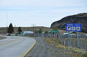 Chile Route 9 - View of the village of Morro Chico halfway between Puerto Natales and Punta Arenas. The road in picture is Route 9-CH