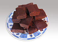 A plate of Chocolate brownies.