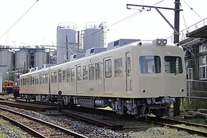 Choshi Electric Railway 2000 series - Set 2002 undergoing conversion/repainting work at Nakanocho Depot in March 2010