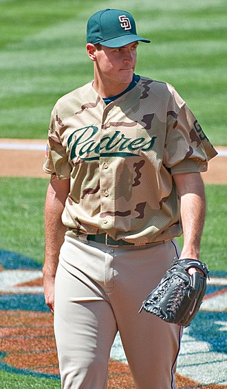 Chris Young (pitcher) - Chris Young wearing the Padres military-style jersey