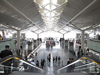 "Chubu Centrair International Airport - Main hall of arrival, at the conjuncture of the ""T""-shaped building"