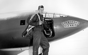 Test pilot - Brigadier General Chuck Yeager in front of the history-making Bell X-1, first test pilot to break the sound barrier in 1947