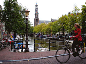 English: Cycling en Amsterdam