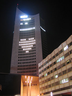 City-Hochhaus Leipzig - Image: City Hochhaus Leipzig at night