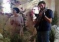 Clare (visual artist) & Audio Engineer Jon Gilbert playing guitar - Peggy Honeywell in Room 205, 2012-06-20.jpg