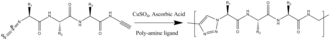 """Clicked peptide polymer - Synthetic scheme for a cycloaddition (""""click reaction"""") based step-polymerization of a tripeptide."""