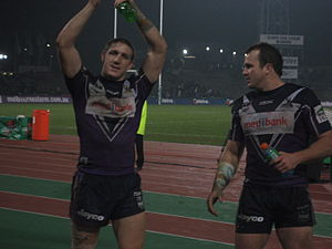 Ryan Hoffman - Hoffman and Clint Newton in 2007 celebrating after a win for Melbourne