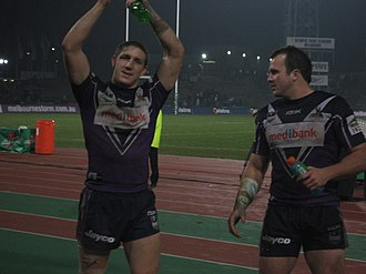 Clint Newton - Ryan Hoffman and Newton in 2007 celebrating after a win for Melbourne