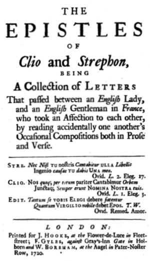 Martha Fowke - Title page for Fowke's Clio and Strephon, 1720