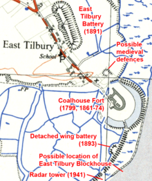 Map showing the locations of East Tilbury, Coalhouse Fort, the detached wing battery, the radar tower and the possible locations of the medieval defences and East Tilbury Blockhouse