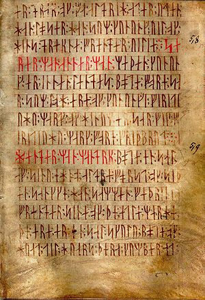Codex Runicus - Leaf (f. 27r.) of Codex Runicus, a vellum manuscript from c. 1300 containing one of the oldest and best preserved texts of the Scanian Law, written entirely in runes.