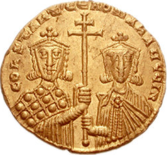 Romanos II - Gold solidus with Romanos II and his father, Constantine VII