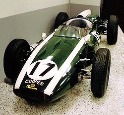 This standard Cooper-Climax T53 F1 was donated by Jim Hall to the IMS in 1969. It is painted to look like Jack Brabham's 1961 Cooper-Climax T54, the car that began the rear-engine revolution at the Indianapolis 500. The real car is displayed at the Marconi Automotive Museum in Tustin, California.