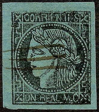 Corrientes Province - Corrientes 1 real stamp (1856)
