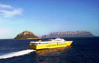 A high-speed ferry in the Gulf of Olbia - Sardinia