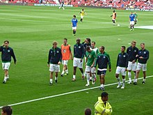 98635ec82 The Cosmos team at Old Traford before the first match of the revived  franchise v. Manchester United in August 2011. Kemsley s group included  English soccer ...