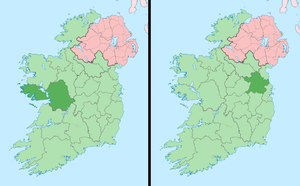 2001 All-Ireland Senior Football Championship Final - County Galway (left) and County Meath (right) shown within Ireland.