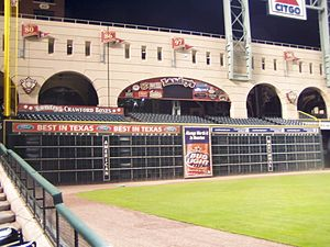 Tilman Fertitta - In 2003, Fertitta bought the naming rights to the Crawford Boxes at Minute Maid Park.