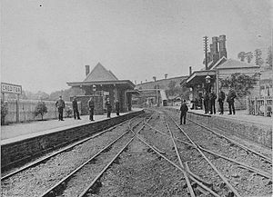 Crediton railway station - pre 1892 view of mixed gauge track