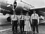 Crew and Queensland Airlines DC3 plane, 'Wide Bay' (3209102938).jpg