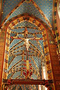 Cross inside St Mary's church Krakow.JPG