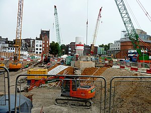Crossrail - Construction of Crossrail at Tottenham Court Road in September 2011