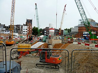 St Giles Circus - Construction of Tottenham Court Road Crossrail station