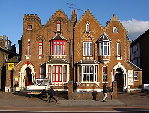 Seven Sisters Road - Pair of Victorian gothic houses facing Finsbury Park.