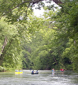 Canoers on Current River in the Ozark National...