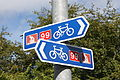 Cycle route sign, Downpatrick, September 2009.JPG