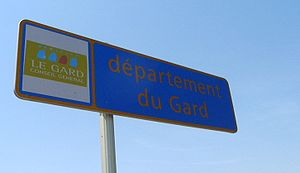 Signpost welcoming travellers into the Gard, a...