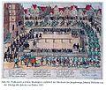 """Düsseldorf Marktplatz im Jahre 1585 aus """"Fußturnier auf dem Marktplatz"""", 1585, Kupferstich von Franz Hogenburg in D.Graminäus """"Beschreibung derer Fuerstlich Gueligscher Horczeit ..."""", Köln 1587.jpg"""