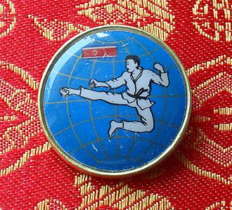 Sport in North Korea - Taekwondo pin from the DPRK