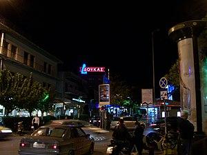Dafni, Attica - Nighttime scene of Kalogyrous Square, Dafni, Athens, Greece