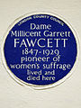 Dame Millicent Garrett Fawcett 1847-1929 pioneer of women's suffrage lived and died here.jpg