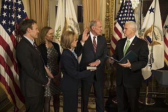 Director of National Intelligence - Coats being sworn in as Director of National Intelligence by Vice President Mike Pence on March 16, 2017.