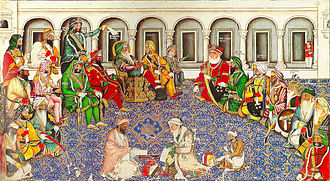 Darbar of Maharaja Ranjit Singh, showing people of all religions. Darbar of Maharaja Ranjit Singh.jpg