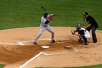 Baseball - David Ortiz, the batter, awaiting a pitch, with the catcher and umpire