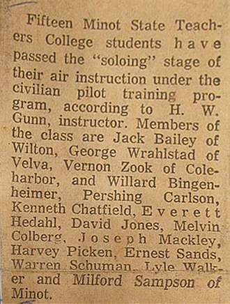 David C. Jones - CPTP Students Solo 1940