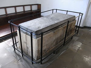 Mortehoe - Chest tomb of Sir William de Tracy (d.1322), cleric, incumbent of Mortehoe. South transept, St Mary's Parish Church, Mortehoe